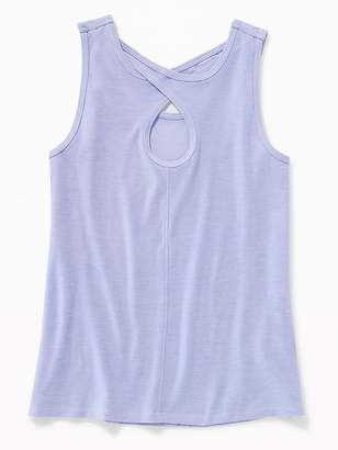 Old Navy Fitted Go-Dry Cool Keyhole-Back Tank for Girls