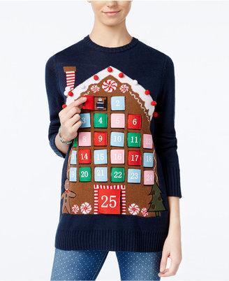 Planet Gold Juniors' Advent Calendar Holiday Sweater $49 thestylecure.com
