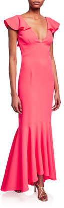 Sachin + Babi Mason V-Neck Ruffle-Sleeve Bodycon Gown