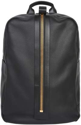 Tom Ford Leather Backpack With Oversize Zip Pull