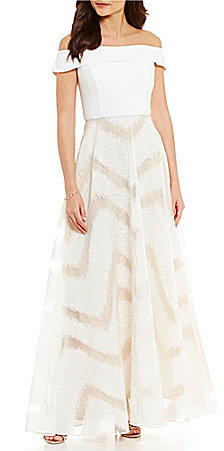Adrianna Papell Adrianna Papell Off-The-Shoulder Jersey Bodice Ball Gown