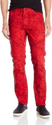 Southpole Men's Acid Washed Denim Pants Long Slim Straight Fit Moto Denim Jeans with Quilted Moto Biker Details