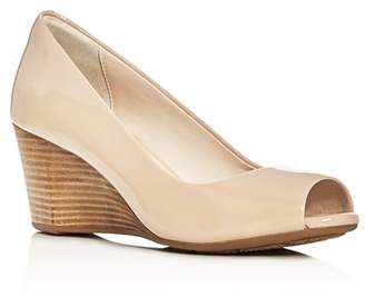 30827b42887 Nude Wedge Peep Toe Shoes - ShopStyle