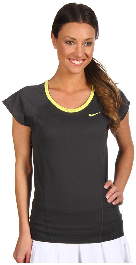 Nike Dri-Fit Cotton Knit S/S Top (Anthracite/Electric Yellow/Electric Yellow) - Apparel
