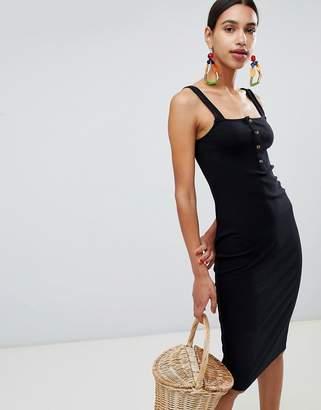 Asos DESIGN cami rib bodycon midi dress with faux horn buttons