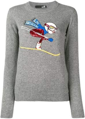 Love Moschino ski embroidery jumper