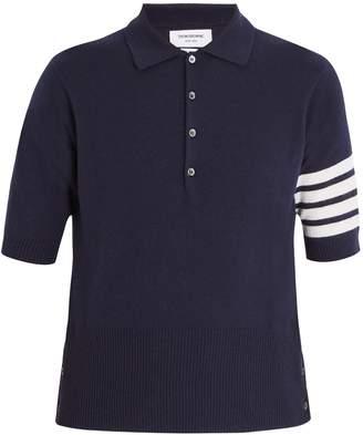 Thom Browne Striped-sleeve cashmere polo shirt