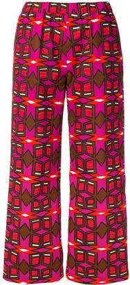 Aspesi geometric print cropped trousers