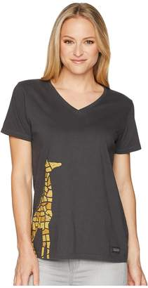 Life is Good Mosaic Giraffe Crusher Vee Women's T Shirt