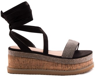 d696298f215e Missy Empire Missyempire Lyric Black Diamante Vamp Espadrille Flatform  Sandals