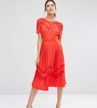 Asos Tall TALL Premium Pleated Midi Dress with Lace Inserts