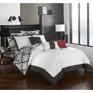 Hotel Collection Chic Home 10-Piece Lalita Grey and White REVERSIBLE Medallion printed PLUSH King Bed In a Bag Comforter Set Grey With sheet set