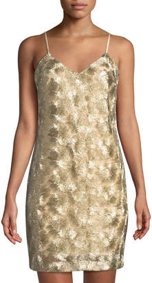 Trina Turk Highlight Sleeveless Metallic Cocktail Dress, Gold
