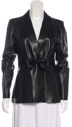 Valentino Accented Leather Blazer