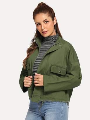 SheinShein Drop Shoulder Raw Hem Denim Jacket