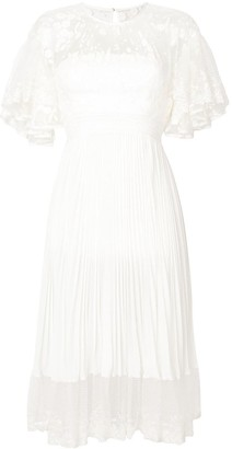 Three floor Shadow gathered lace and pleat dress