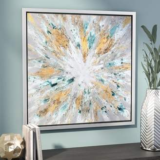 Willa Arlo Interiors 'Exploding Star Modern' Abstract Framed Oil Painting Print on Canvas