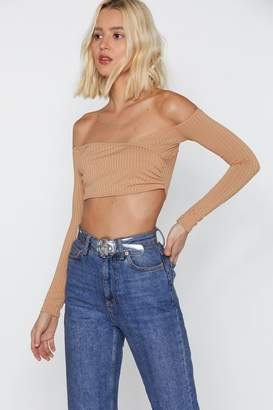 Nasty Gal Be There Shortly Ribbed Off-the-Shoulder Crop Top