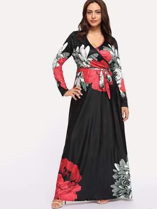 Shein Plus Flower Print Wrap Maxi Dress