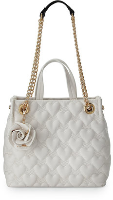 Betsey Johnson Bee Mine Heart-Quilted Shopper Bag, White $76 thestylecure.com