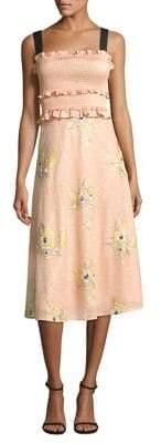 Three floor Smocked Floral Midi Dress