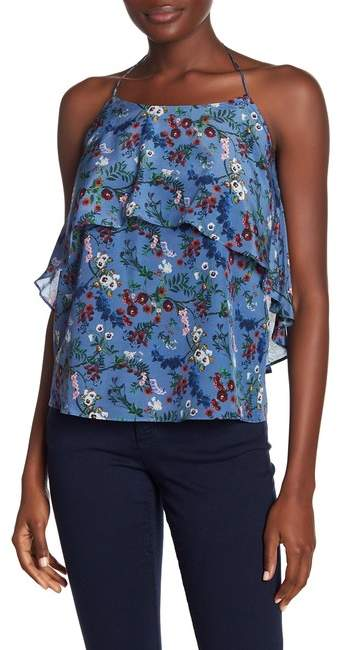 alice + olivia Marybeth Floral Silk Halter Top