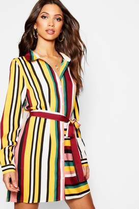 boohoo Tonal Stripe Mix + Match Shirt Dress