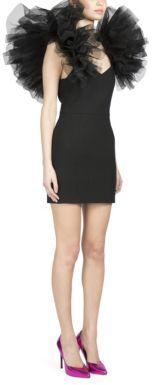 Saint LaurentSaint Laurent Ruffled Tulle-Shoulder Cocktail Dress