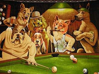 Pool' POOL PLAYING DOGS - Art Print on Canvas (28x20 inches , unframed) by Rock Bull