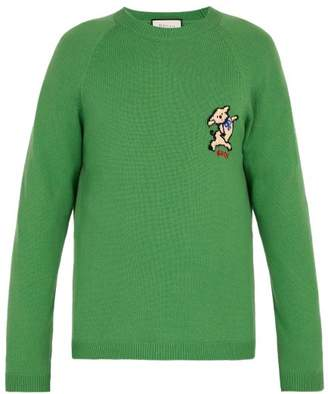 Gucci Pig Applique Patch Cashmere Sweater - Mens - Green