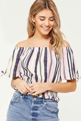67f6325d14691 Off The Shoulder Crop Tee - ShopStyle Canada
