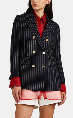 Thom Browne Women's Pinstriped Wool Double-Breasted Blazer - Navy