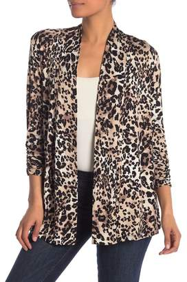 Bobeau Open 3\u002F4 Length Sleeve Cheetah Cardigan
