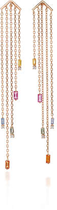 Suzanne Kalan Rose Gold Fringe Earrings With Sapphire Drops