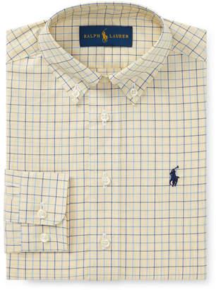 Ralph Lauren Poplin Tattersall Collared Dress Shirt, Size 2-3