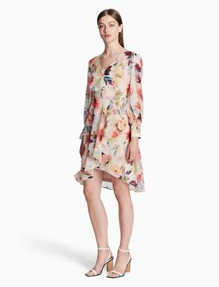 Calvin Klein floral chiffon long sleeve dress