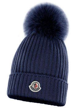 Moncler Kids' Rib-Knit Beanie Hat w/ Fur Pompom