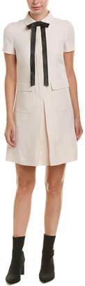 Valentino Leather-Trim Shift Dress