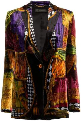 Versace mixed print velvet single-breasted blazer