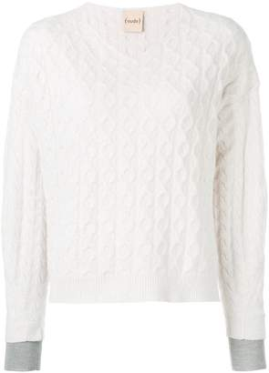Nude layered cuff contrast knit jumper