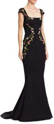 Zac Posen Velvet Cap-Sleeve Embroidered Gown