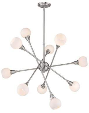 Filament Design Tian 10-Light Pendant LED Light in Brushed Nickel with Opal Glass Shades