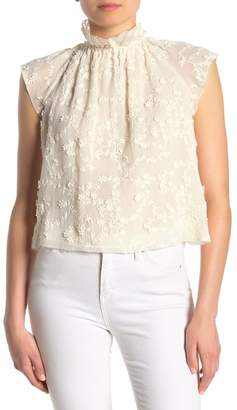 Rebecca Taylor Ellie Lace Embroidered Cap Sleeve Top