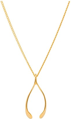 Katie Mullally Small Gold Plated Wishbone Necklace