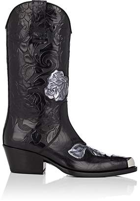 Calvin Klein Women's Floral Leather Cowboy Boots