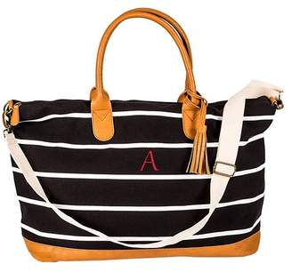 Cathy's Concepts Personalized Black Striped Canvas Oversized Weekend Tote - MULTIPLE LETTERS AVAILABLE