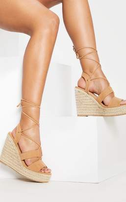 9534211118fd PrettyLittleThing Tan Ghillie Lace Up Espadrille Wedge