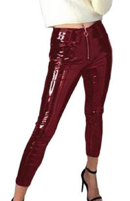 55bce5482418d1 Smeiling-CA Women's Sexy Faux Leather Wet Look Shiny Metallic Legging Pants  L