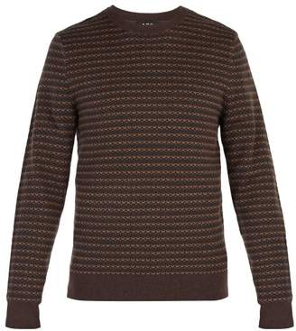 A.P.C. Intarsia Knit Wool Sweater - Mens - Brown