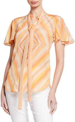 Valentino Camicie Tie-Neck Patterned Silk Blouse